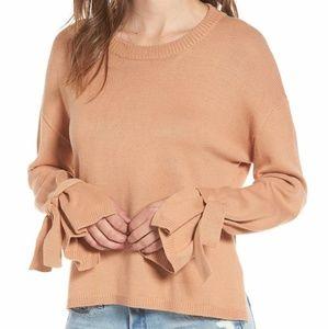 Nordstrom ASTR the Label Beige Tie Sleeve Sweater
